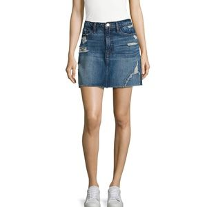 FRAME Women's Blue Le Distressed Denim Mini Skirt